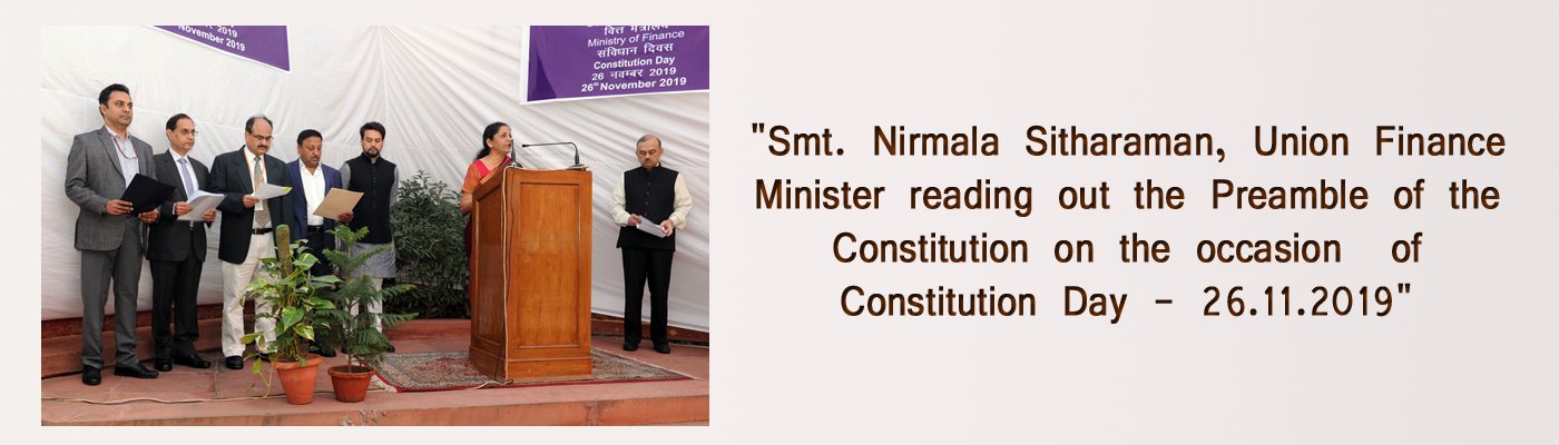 Smt. Nirmala Sitharaman, Union Finance Minister reading out the Preamble of the Constitution on the occasion  of Constitution Day - 26th November, 2019