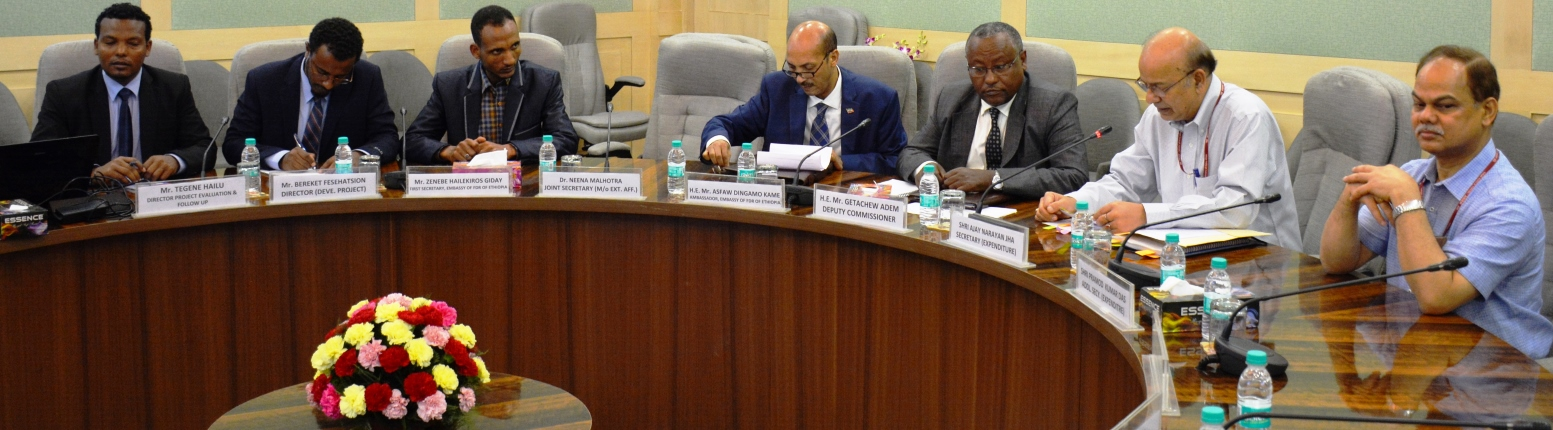Shri A.N. Jha, Secretary (Expenditure) interacting with the Ethiopian Planning Commission delegation led by His Excellency Mr. Getachew Adem, Deputy Commissioner on 1st June 2018.