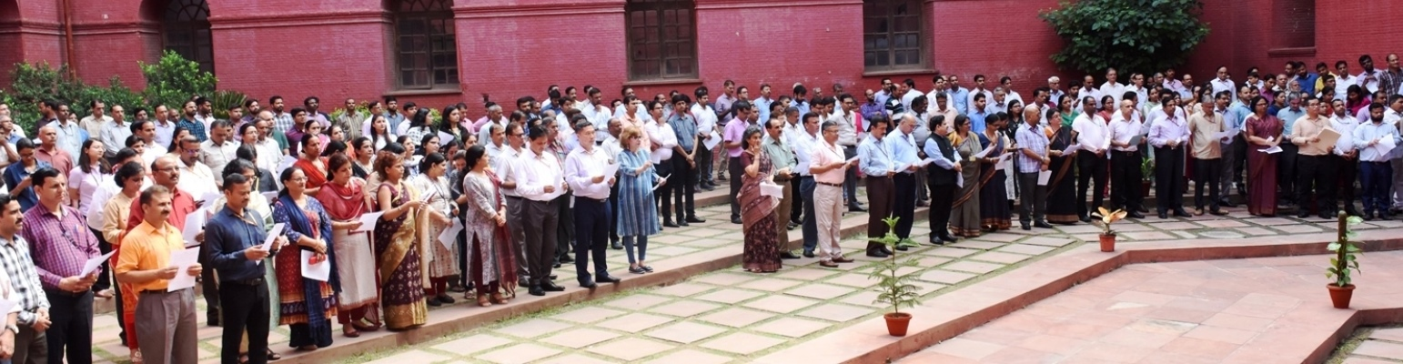 Ministry of Finance officials taking the Swachhata Pledge  on 1st October 2019